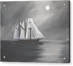 Acrylic Print featuring the painting Schooner Moon by Virginia Coyle