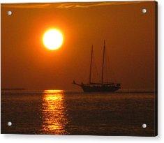 Schooner Sunset Acrylic Print