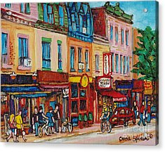 Schwartzs Deli And Warshaw Fruit Store Montreal Landmarks On St Lawrence Street  Acrylic Print by Carole Spandau