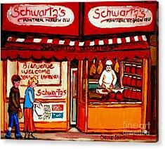 Schwartz's  Deli  Montreal Landmarks Acrylic Print by Carole Spandau