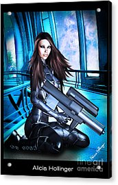 Sci-fi Brunette With A Big Gun Acrylic Print by Alicia Hollinger