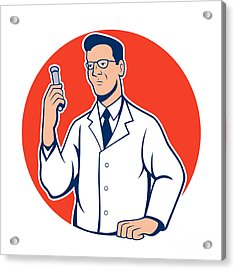Scientist Lab Researcher Chemist Cartoon Acrylic Print by Aloysius Patrimonio