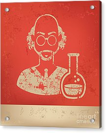 Scientist On Red Background,poster Acrylic Print
