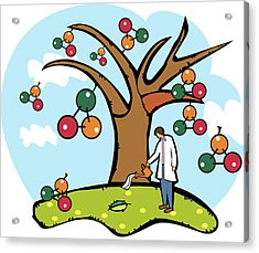 Scientist Watering An Atomic Structure Tree Acrylic Print by Fanatic Studio / Science Photo Library