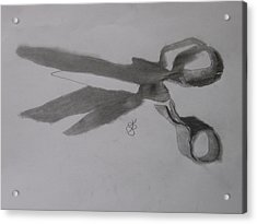 Acrylic Print featuring the drawing Scissors by AJ Brown