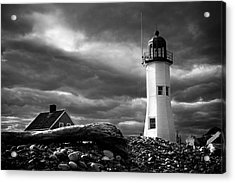 Acrylic Print featuring the photograph Scituate Lighthouse Under A Stormy Sky by Jeff Folger