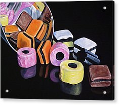 Scoop Of Licorice Allsorts Candy Acrylic Print by Lillian  Bell
