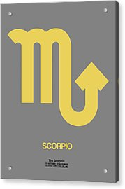 Scorpio Zodiac Sign Yellow On Grey Acrylic Print by Naxart Studio
