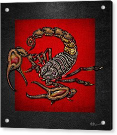 Scorpion On Red And Black Leather Acrylic Print by Serge Averbukh