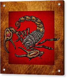 Scorpion On Red And Brown Leather Acrylic Print by Serge Averbukh