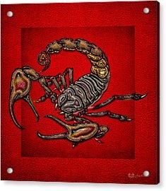 Scorpion On Red Acrylic Print by Serge Averbukh