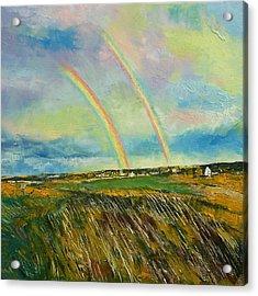 Scotland Double Rainbow Acrylic Print