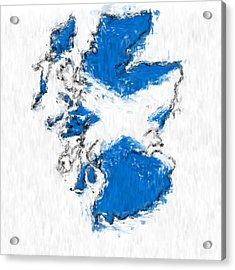 Scotland Painted Flag Map Acrylic Print