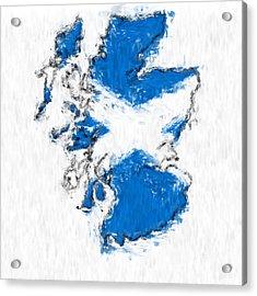 Scotland Painted Flag Map Acrylic Print by Antony McAulay