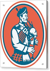 Scotsman Scottish Bagpipes Retro Acrylic Print by Aloysius Patrimonio
