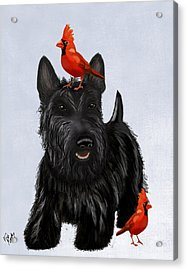 Scottie Dog And Red Birds Acrylic Print by Kelly McLaughlan