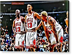 Scottie Pippen With Michael Jordan And Dennis Rodman Acrylic Print
