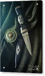 Scottish Dirk And Celtic Pin Brooch On Plaid Acrylic Print by Sandra Cunningham