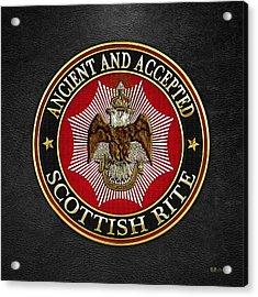 Scottish Rite Double-headed Eagle On Black Leather Acrylic Print