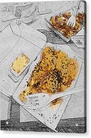 Acrylic Print featuring the digital art Scrabled Eggs At Mcdonalds Abstract by Nik Helbig