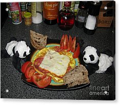 Scrambled Eggs Salami And Cheese For Breakfast. Travelling Baby Pandas Series. Acrylic Print