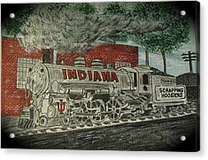 Scrapping Hoosiers Indiana Monon Train Acrylic Print by Kathy Marrs Chandler