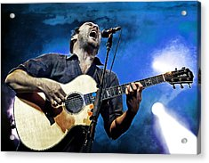 Dave Matthews Screaming On Guitar In Blue Acrylic Print by Jennifer Rondinelli Reilly - Fine Art Photography