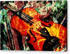 Acrylic Print featuring the mixed media Scribbled Fiddle by Ally  White