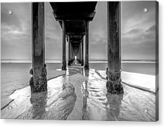 Scripps Pier Black And White Acrylic Print