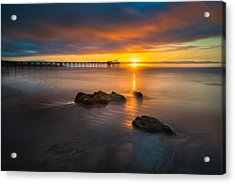 Scripps Pier Sunset 2 Acrylic Print by Larry Marshall