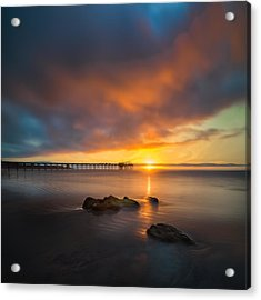 Scripps Pier Sunset 2 - Square Acrylic Print by Larry Marshall