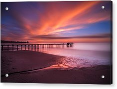 Scripps Pier Sunset Acrylic Print by Larry Marshall