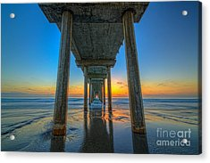 Scripps Pier Sunset Acrylic Print by Michael Ver Sprill