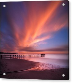 Scripps Pier Sunset - Square Acrylic Print by Larry Marshall