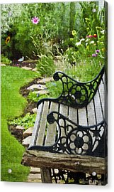 Scroll Bench Garden Scene Digital Artwork Acrylic Print