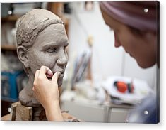 Sculptor Working On Head Sculpture Acrylic Print by Guido Mieth