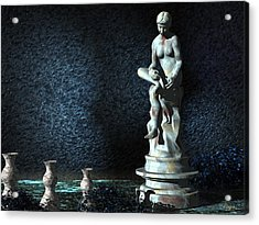 Acrylic Print featuring the digital art Sculpture Garden by John Pangia