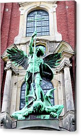 Sculpture Of The Archangel Michael Acrylic Print by Miva Stock