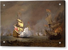 Sea Battle Of The Anglo-dutch Wars The Battle Of Lowestoft Acrylic Print by Litz Collection