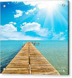 Sea Beautiful And Sky Acrylic Print by Boon Mee