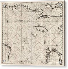 Sea Chart Of The South Coast Of Cuba And Jamaica Acrylic Print by Jan Luyken And Claes Jansz Voogt And Johannes Van Keulen (i)