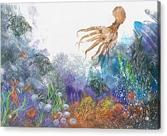 Sea Coral And Octopus Acrylic Print by Nancy Gorr