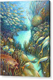Sea Food Chain - Stalker Acrylic Print by Nancy Tilles