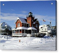 Sea Girt Lighthouse In The Snow Acrylic Print by Melinda Saminski