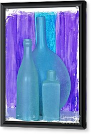 Sea Glass Bottles Made In India Acrylic Print by Marsha Heiken