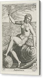 Sea Goddess Amphitrite, Philips Galle Acrylic Print by Philips Galle