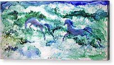 Acrylic Print featuring the painting Sea Horses by Joan Hartenstein