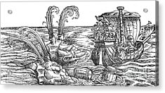 Sea Monsters Or Whales, 16th Century Acrylic Print by Photo Researchers