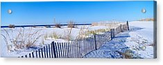 Sea Oats And Fence Along White Sand Acrylic Print by Panoramic Images