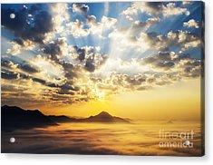 Sea Of Clouds On Sunrise With Ray Lighting Acrylic Print by Setsiri Silapasuwanchai